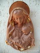 Goldscheider fali dísz szobor Madonna a gyermek Jézussal