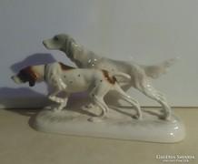 Nagyméretű német Katzhütte porcelán kutyapár