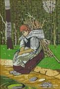 0I044 Régi rőzsegyűjtő nő gobelin arany keretben