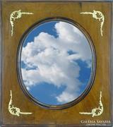 0I046 Régi ovális alakú empire tükör 70 x 54 cm
