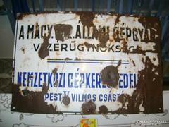 Régi zománctábla, zománcozott tábla - 50 x 33 cm