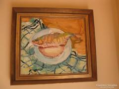 Hegedűs Endre Hal tányéron (irdalva) című festménye