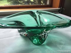 Zöld művészi üveg tál - Green, art glass bowl (11A)