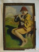 Knapp A. '932 Furulyás fiú festmény