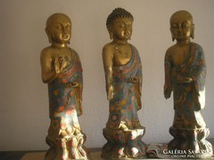 Antik bronz szobor aranyozott Buddha 3 db Gyűjtemény + 6 db kis buddhák U9