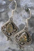 925 ezüst fülbevaló, brazil citrin drágakővel