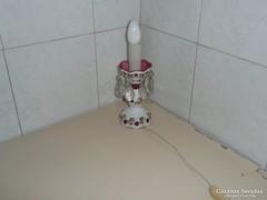 Cseh  asztali állólámpa, Cseh hántolt üveg lámpa,Ritka