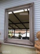 Provence bútor, antikolt fehér nagyméretű tükör 50.