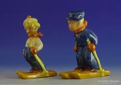 0I509 Régi síelő kisfiú és kislány Komlós kerámia