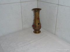 Régi réz váza gyöngy berakással 19 cm