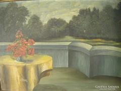 P106 Pipacsos csendélet tájban ismeretlen festő