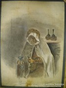 P111 Antik grafika bort kínáló idős hölgy