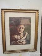 Anya gyermekével rézkarc, Czóbel szignóval, üveg és keretben