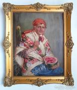 Ivanácz Zsolt József (1869-?): Dinnyeevő menyecske