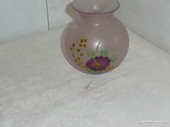 Kézzel festett kisméretű üveg váza 12 cm