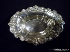 Q173 JOWLE rózsás ezüstözött tál kínáló