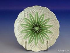 0G222 Antik Meisseni zöld-fehér porcelán kistányér
