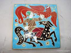 Ősmagyar jelenetet ábrázoló rekeszzománc falikép