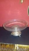 Ezüst üveges kínáló / asztalközép