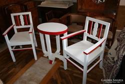 Piros-fehér art deco verandabútor