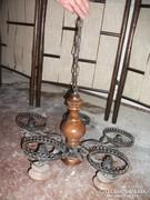 Antik fa törzsű,5 db kovácsoltvas lámpatartókkal, csillár eladó!