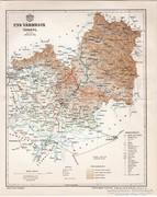 Ung vármegye térkép 1897, antik, eredeti