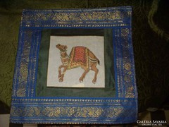 New decorative pillow with gold thread, camel mot.-Also included