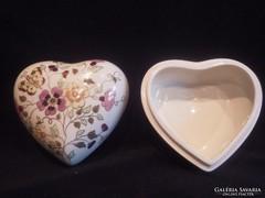 Zsolnay lepkés nagy porcelán szív bonbonier