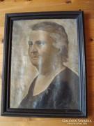 Régi olaj-vászon női portré