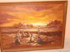 Nagy méretű szignált olaj farost festmény