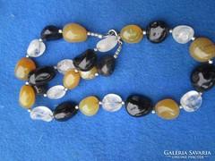 Eredeti karneol-,heliotróp-,hegyikristály női nyakl. 145,5 g