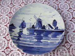 Kézzel festett Delft mintás falitányér 19 cm   0906