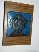 Stekly Zsuzsa : Egy borostás pap  - tűzzománc kép - portré sorozatából
