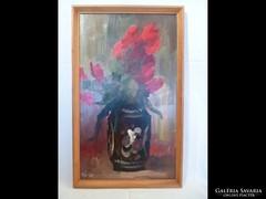Y509 Pipacsos virágcsendélet jelzett