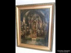 Y515 Antik festmény váci székesegyház belseje