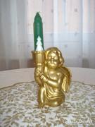 Aranyozott kerámia gyertyatartó angyalka