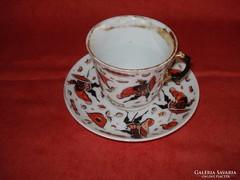Régi kézzel festett porcelán teás csésze + alj