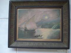 Régi olaj festmény kasírozott vászon