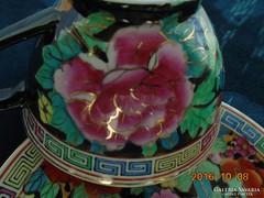 Aranykontúrozott-Famille Noir-Mille Fleur teás csésze alátéttel (5)
