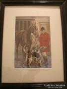 Vadász lovas akvarell