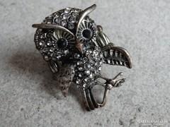 Bagoly figurás gyűrű Swarovski kristályokkal,4x3 cm a bagoly