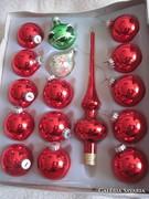 Régi üveg karácsonyfadísz csomag,gömb és csúcsdísz