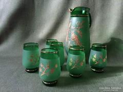 Bohemia smaragdzöld kristály pohárszett kancsóval