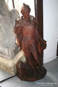 Szent Flórián  faragott fa szobor - sérült