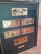 1800-as ANTIK 24 Kt ARANY USA DOLLÁR, AMERIKA BANKJEGY SZETT