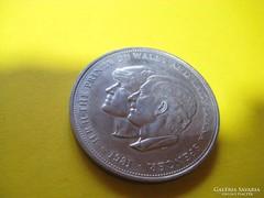 Diana és hercege emlékérem ezüstözött ,38x 3 mm ,1981. es.....................