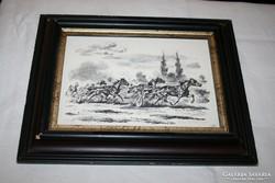 Száguldó lovas fogat ceruzarajz