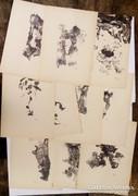 Horváth László (1951-) szobrász korai egyedi grafikái egyben