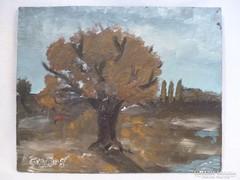 Y489 Gyapjas jelzésű festett fatábla festmény