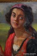 Vándorcigány pár - portrék - olajfestmények - egyben eladó